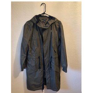 Long women's olive green jacket